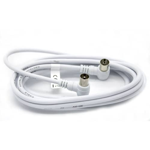 Cable antena de TV de 75 Ohm acodado 1.5 M Blanco