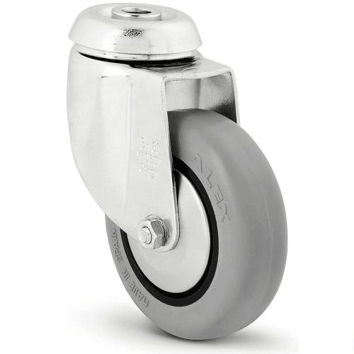 Rueda pivotante industrial goma sin freno 80 mm