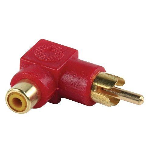Adaptador audio estereo RCA angular 90  Rojo