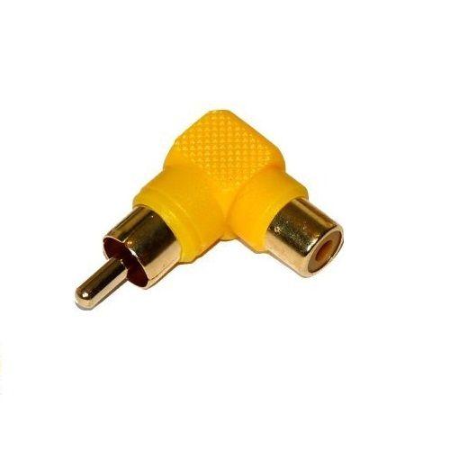 Adaptador audio estereo RCA angular 90  Amarillo