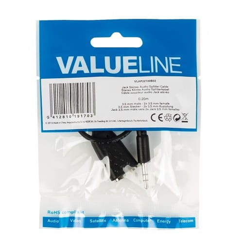 Cable de audio estereo JACK 3.5/M - 2xJACK 3.5/H 0.20 M Negro