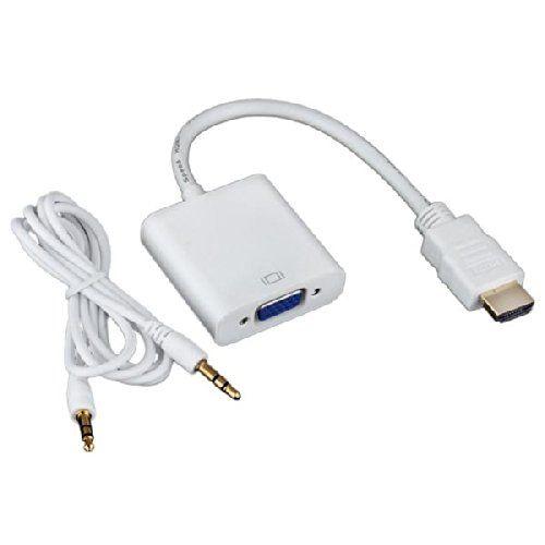 Adaptador conversor VGA hembra a HDMI macho con audio  Blanco