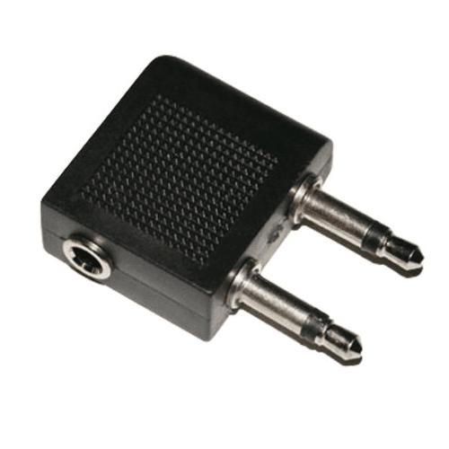 Adaptador de auriculares para avion jack 3.5  Negro
