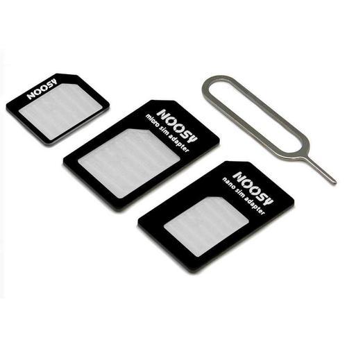 Adaptador de tarjeta nanoSIM microSIM y SIM para movil  Negro