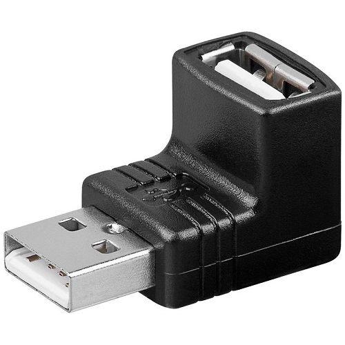 Adaptador USB 2.0 macho a hembra acodado 90 grados  Negro