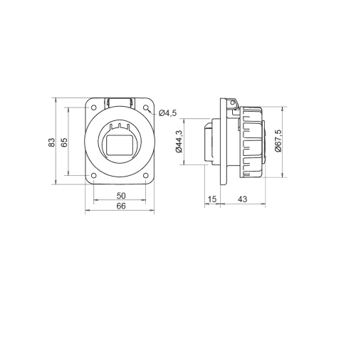 Base enchufe industrial hembra 2P+T 250V IP67 empotrar 16 A Azul
