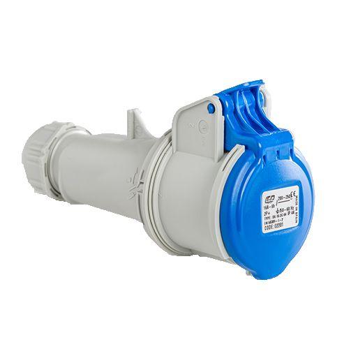 Base enchufe industrial hembra 2P+T 220V IP44 superficie 16 A Azul