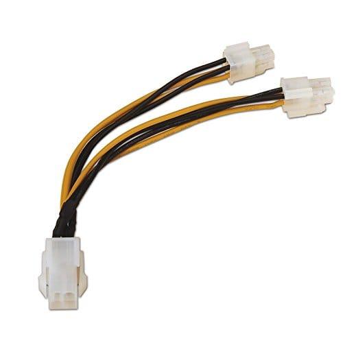 Cable alimentacion interna  molex 4 pin hembra - 4+4 pin 0.15 M Negro