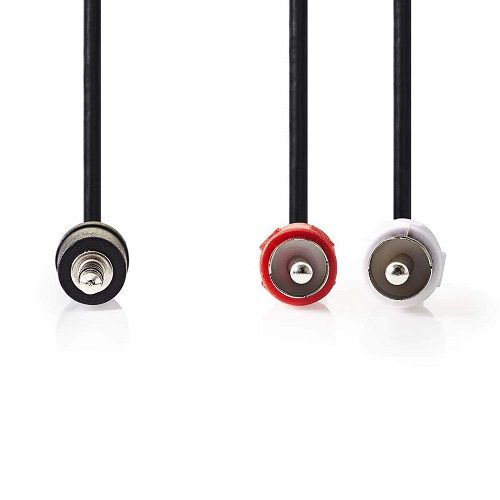 Cable audio estereo jack 3.5 macho - 2x RCA macho 5 M Negro