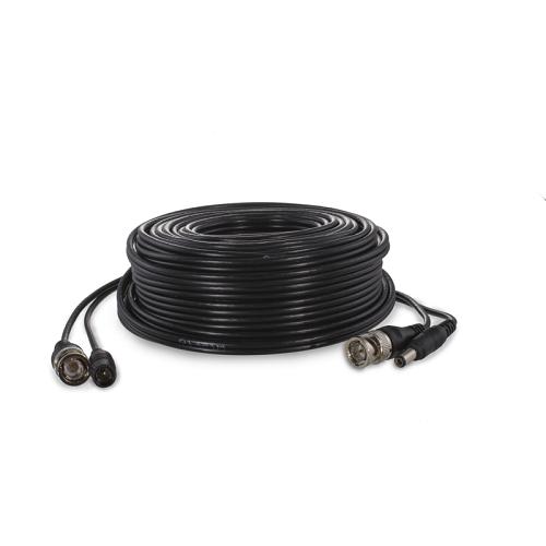 Cable RG59 Combinado Coaxial y Alimentacion BNC 20 M Negro