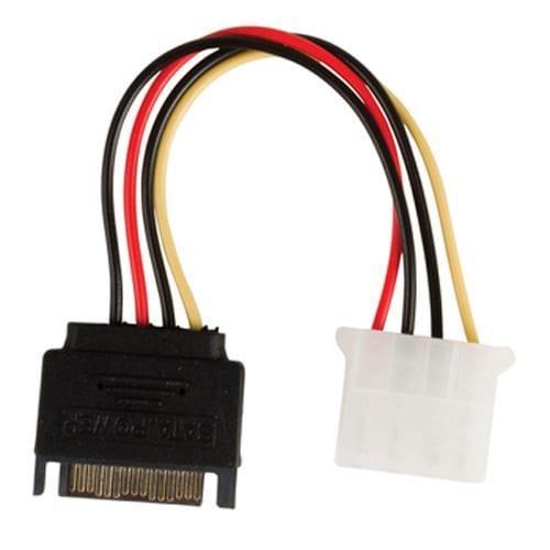 Cable de alimentacion interna SATA macho - Molex hembra 0.15 M Negro