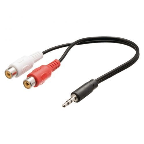 Cable de audio estereo 2xRCA/H-JACK 3.5mm/M 0.25 M Negro