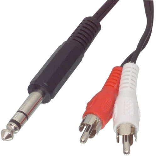 Cable de audio estereo JACK 6.35 macho - 2x RCA macho 2 M Negro