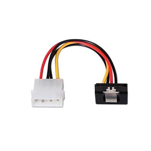 Cable de alimentación interna sata acodado con anclajes 0.15 M Negro