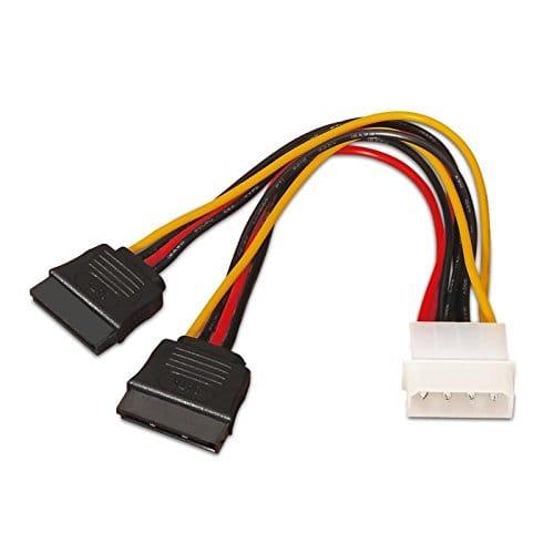 Cable de alimentacion interna molex 5.25 a 2x sata 0.15 M Negro