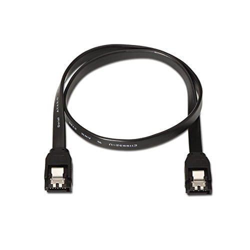 Cable SATA III DATOS 6G con anclajes 0.50 M Negro