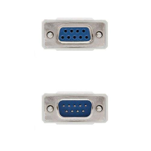 Cable serie null modem DB9 hembra -DB9 macho 1.8 M Beige