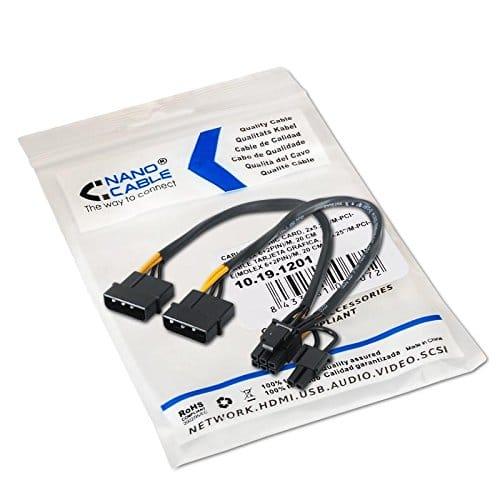 Cable de alimentacion para tarjeta grafica 2x MOLEX a PCI-E 0.20 M Neg