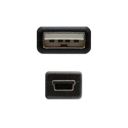 Cable USB 2.0 A/M-mini USB 5pin/M 0.50 M Negro