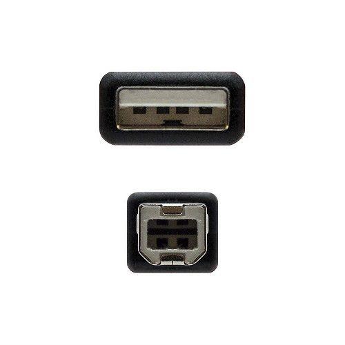 Cable USB 2.0 para impresora A/M-B/M 1.8 M Negro