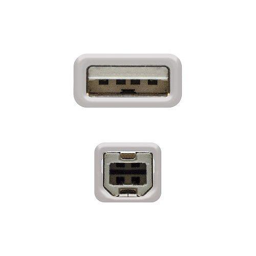 Cable USB 2.0 para impresora A/M-B/M 1.8 M Beige