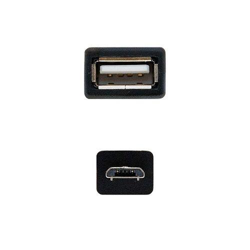 Cable USB otg 2.0 micro B macho 0.20 M Negro