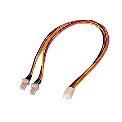 Cable Ventilador alimentacion 3PIN/H - 2x3PIN/M 0.25 M Negro