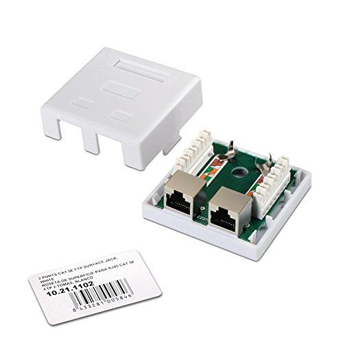 Caja de superficie de 2 RJ45 Cat 5e FTP  Blanco