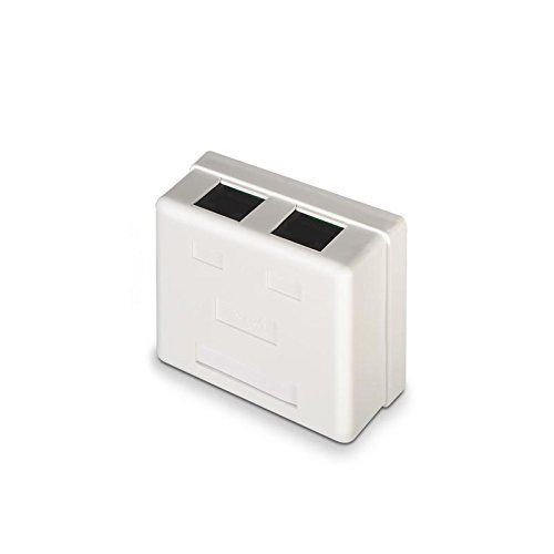 Caja de superficie de 2 RJ45 Cat 6 UTP  Blanco
