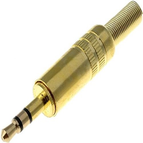 Conector audio jack macho 3.5 mm estereo  Dorado