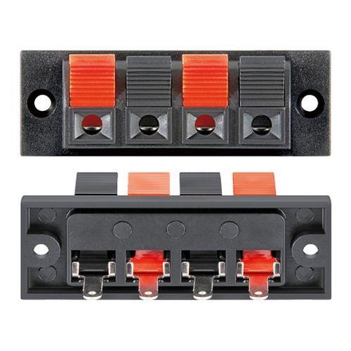 Conjunto de 4 bornes para altavoz rectangular  Negro