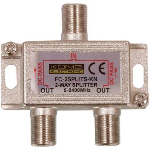 Distribuidor de 2 salidas con conector F  Gris
